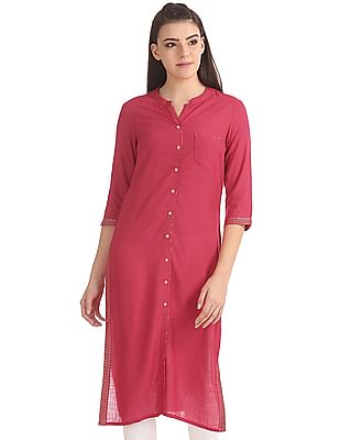 Anahi Mandarin Neck Mock Placket Kurta