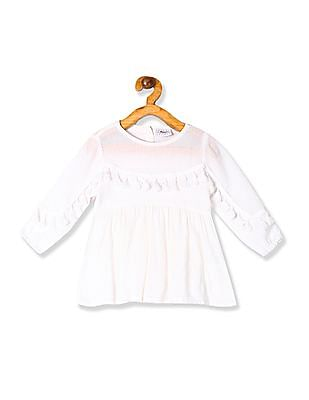Donuts Girls White Tassel Accent Flared Tunic