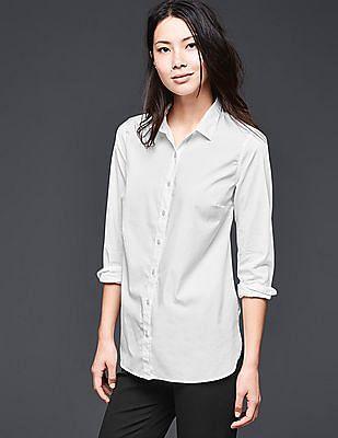 GAP Women White Tailored Poplin Shirt