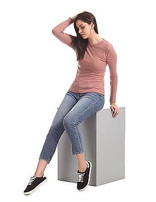 Elle Studio Pink Long Sleeve Knit Top