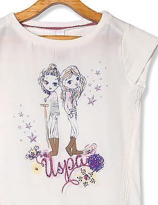 U.S. Polo Assn. Kids Girls Graphic Print Cap Sleeve Top