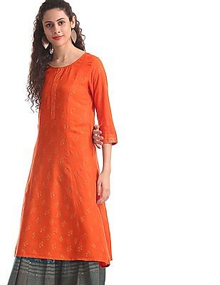 Anahi Orange Glitter Print Panelled Kurta