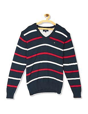 Arrow Sports Blue V-Neck Striped Sweater
