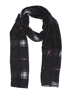 SUGR Black Check Cotton Stole