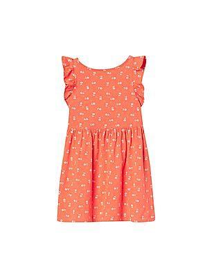 GAP Toddler Girl Orange Print Flutter Dress