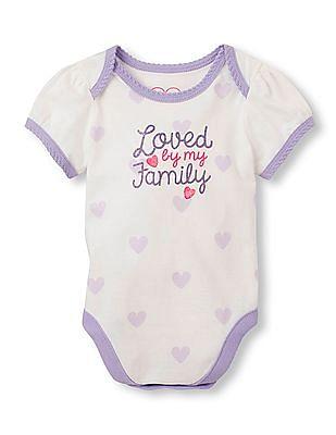 The Children's Place Baby Girls Short Sleeve 'Loved By My Family' Heart Print Little Talker Bodysuit