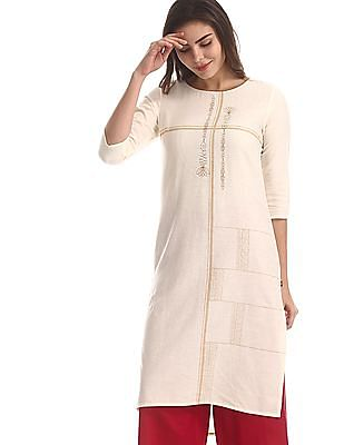 Karigari White High-Low Hem Printed Kurta