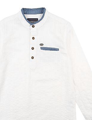 Cherokee Boys Mandarin Collar Popover Shirt