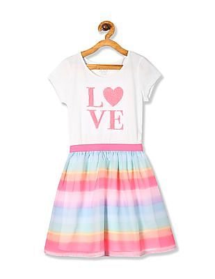 The Children's Place White Girls Short Sleeve Rainbow Stripe Dress