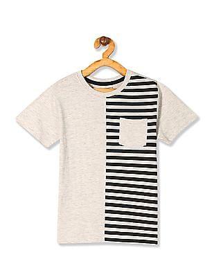 Cherokee Grey Boys Crew Neck Striped Panel T-Shirt
