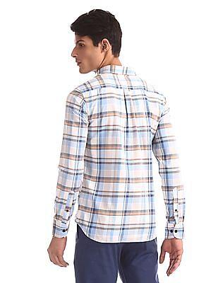 U.S. Polo Assn. Blue And Beige Button Down Collar Check Shirt
