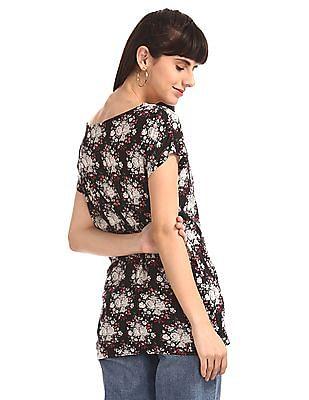 Cherokee Black Extended Shoulder Floral Print Top