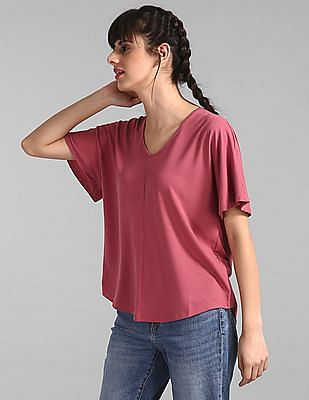GAP Pink Softspun V-Neck Flutter Sleeve Top