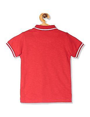 FM Boys Red Boys Slub Knit Solid Polo Shirt