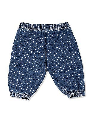 Donuts Blue Girls Polka Dot Print Cropped Jeans