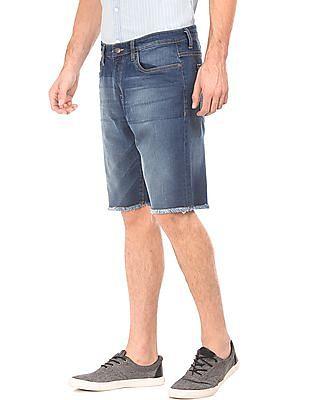 Aeropostale Washed Fringe Hem Denim Shorts