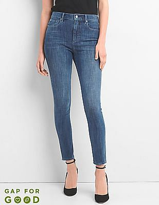 GAP Women Blue Super High Rise 360 Stretch Jeans