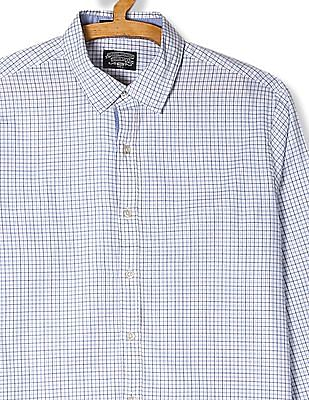 Flying Machine White And Blue Rounded Cuff Check Shirt
