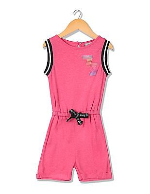 Cherokee Girls Printed Knitted Romper