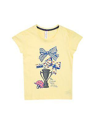 U.S. Polo Assn. Kids Girls Graphic Print T-Shirt