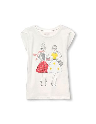 The Children's Place Girls Short Petal Sleeve Embellished Graphic Top