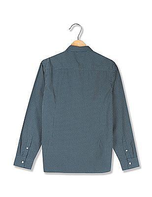 Flying Machine Green Cutaway Collar Patterned Shirt