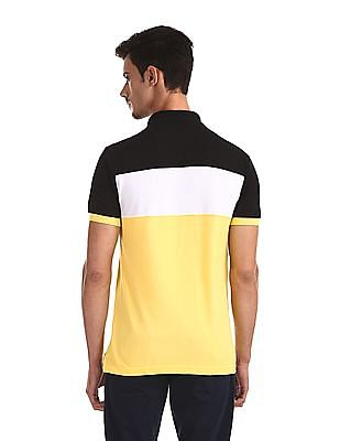 U.S. Polo Assn. Black And Yellow Panelled Pique Polo Shirt