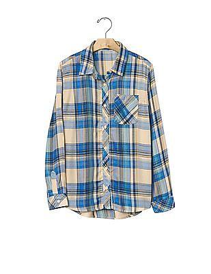 GAP Girls Blue Plaid Twill Pocket Shirt