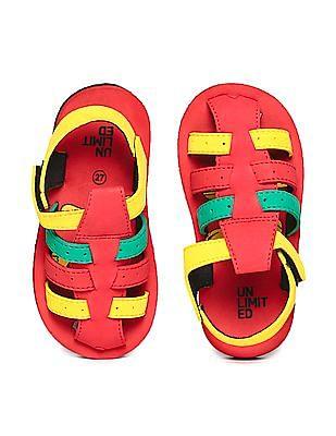 Unlimited Boys Strappy Colour Block Sandals