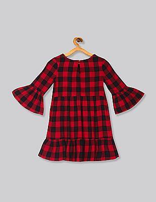 GAP Red Girls Plaid Peplum Dress