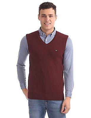 Arrow Sports Regular Fit V-Neck Sweater Vest