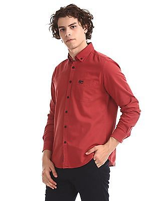 U.S. Polo Assn. Denim Co. Red Button Down Solid Shirt