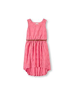 The Children's Place Girls Sleeveless Crochet Belted Hi-Low Dress