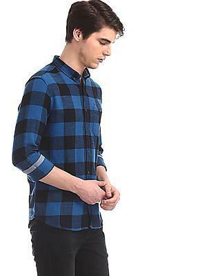 Flying Machine Blue Button Down Collar Check Shirt