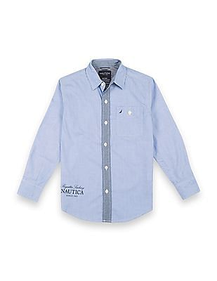 Nautica Kids Boys Printed Back Regular Fit Shirt