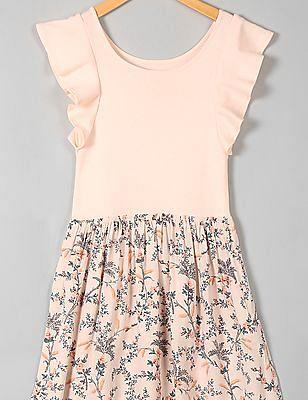 GAP Girls Pink Mix Fabric Flutter Dress