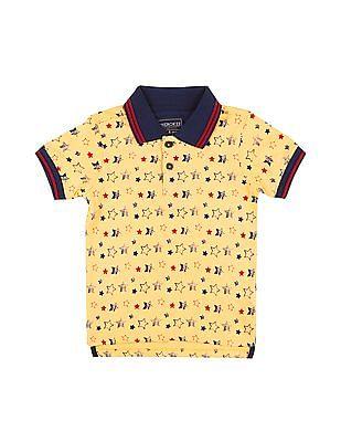 Cherokee Boys Short Sleeve Star Print Polo Shirt