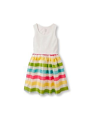 The Children's Place Girls Multi-Colour Sleeveless Lace Pieced Striped Tutu Dress