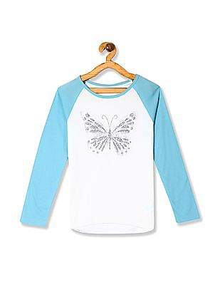 The Children's Place White Girls Active Long Raglan Sleeve Sequin Graphic Top