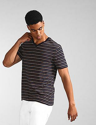 GAP Blue V-Neck Striped T-Shirt