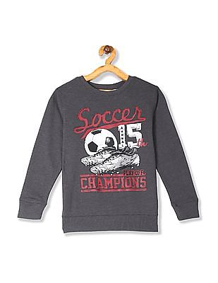 The Children's Place Grey Boys Active Long Sleeve Graphic French Terry Sweatshirt