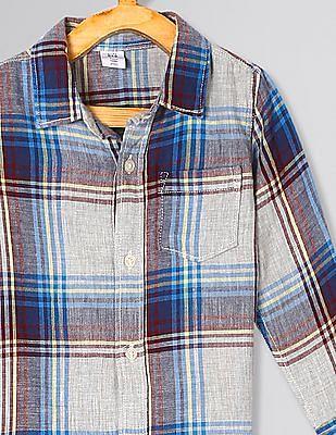 GAP Grey Toddler Boy Double-Weave Convertible Shirt