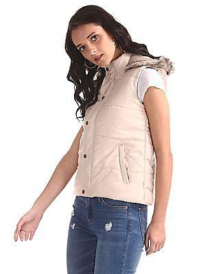 Cherokee Beige Hooded Gilet Jacket