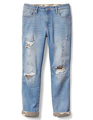 GAP Women Blue Mid Rise Destructed Camo Best Girlfriend Jeans