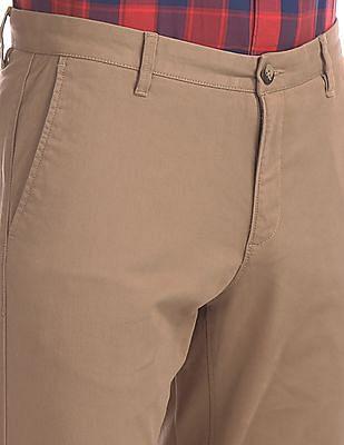 U.S. Polo Assn. Brown Austin Trim Regular Fit Flat Front Trousers