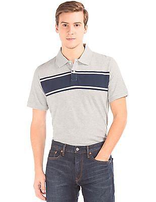 GAP Short Sleeve Stripe Pique Polo