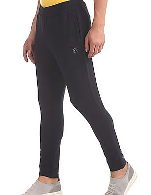 Flying Machine Blue Solid Active Track Pants