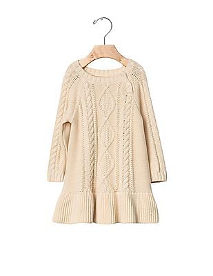 GAP Baby Beige Cable Knit Sweater Dress