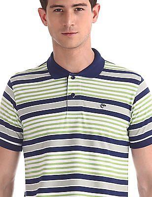 Ruggers Green Horizontal Stripe Cotton Polo Shirt
