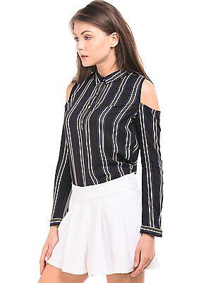 Elle Cold Shoulder Striped Shirt